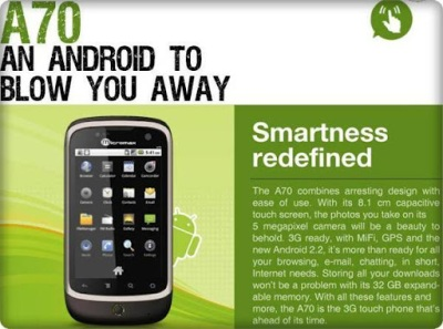 micromax a70 android phone